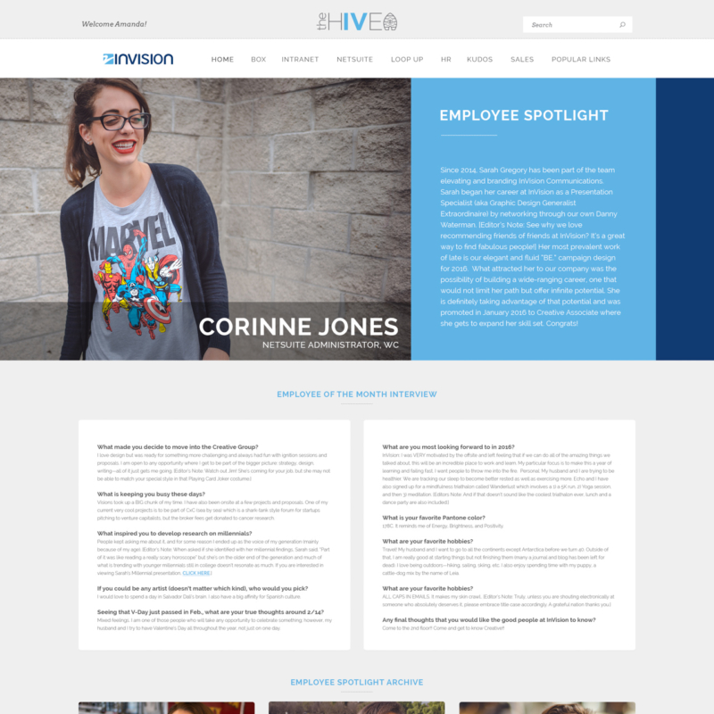 the hive | intranet portal employee spotlight