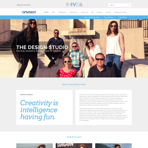 the hive | intranet portal department page